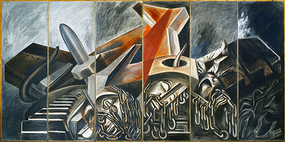 José Clemente Orozco, Dive Bomber and Tank, 1940, fresco, six panels, 275 x 91.4 cm each, 275 x 550 cm overall (The Museum of Modern Art, New York)