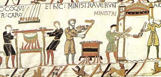 Servants preparing food (detail), Bayeux Tapestry, c. 1070, embroidered wool on linen, 20 inches high (Bayeux Museum)