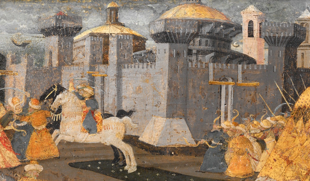 City of Trebizond (detail of front panel), Marco del Buono Giamberti and Apollonio di Giovanni di Tomaso, Cassone with the Conquest of Trebizond, 1460s, tempera, gold and silver on wood, 9 1/2 x 77 x 32 7/8 inches / 100.3 x 195.6 x 83.5 cm (The Metropolitan Museum of Art)