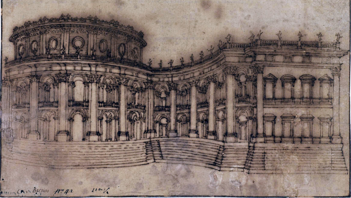 Gian Lorenzo Bernini, Louvre, East Facade (study For The First Project),  Brown Ink On Laid Paper, 16.3 X 27.8 Cm (The Courtauld Gallery, London)
