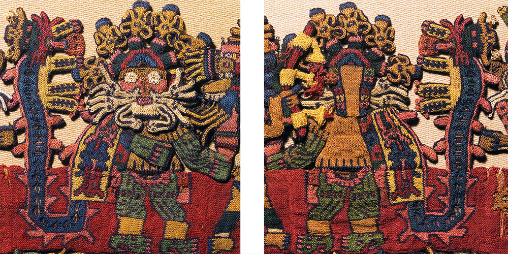 "One of three figures with a front and back, has painted or tattooed skin, a bristling mouthmask, and a headdress with flower-like plumes. He carries a stout striped staff topped with a winged creature, and wears a tunic and loincloth. Over his shoulder hangs a boldly patterned mantle ending in a feline. Detail of border, figure 16, Nasca, Mantle (""The Paracas Textile""), 100-300 C.E., cotton, camelid fiber, 58-1/4 x 24-1/2 inches / 148 x 62.2 cm, found South Coast, Paracas, Peru (Brooklyn Museum)"