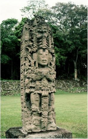 Classic Maya Portrait Stela A, Copán, Honduras, 731 C.E., Portrait of '18-Rabbit' of Copán.