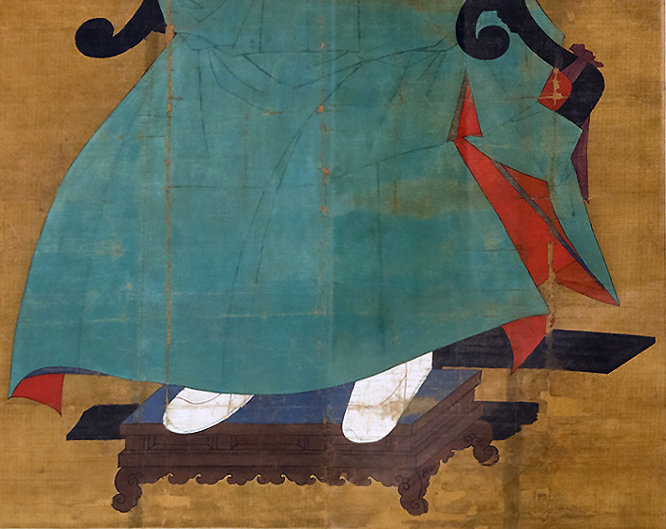 Portrait of Sin Sukju (detail), second half of the 15th century, hanging scroll, ink and color on silk, 167 x 109.5 cm, Goryeong Sin Family Collection, Cheongwon, Treasure no. 613.