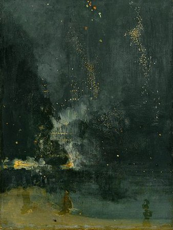 James Abbott McNeill Whistler, Nocturne in Black and Gold: The Falling Rocket, 1875, oil on panel, 60.2 x 46.7 cm (Detroit Institute of the Arts)