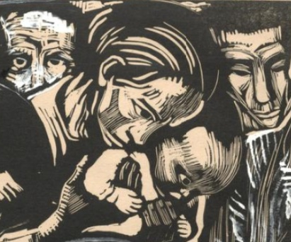 Mourning woman holding a child (detail), Käthe Kollwitz, Memorial Sheet of Karl Liebknecht (Gedenkblatt für Karl Liebknecht), 1919-1920, Woodcut heightened with white and black ink, 37.1 × 51.9 cm (Art Institute of Chicago)