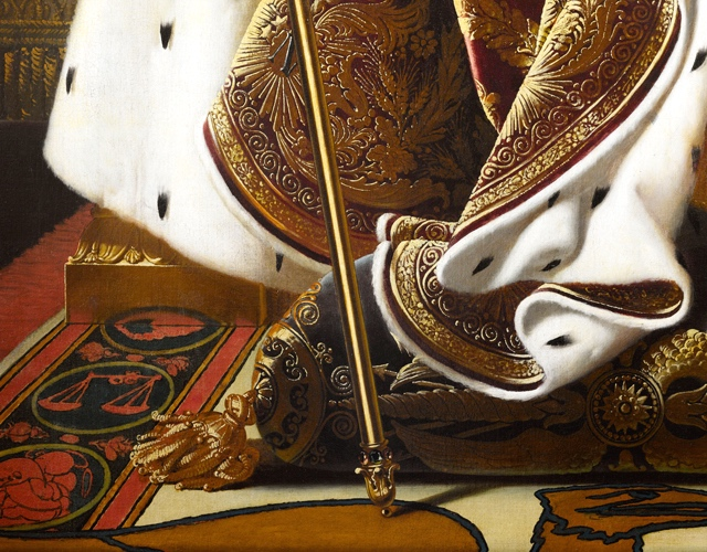 Rug (detail), Ingres, Napoleon on his Imperial Throne, 1806, oil on canvas, 260 x 163 cm (Musée de l'Armée, Paris)