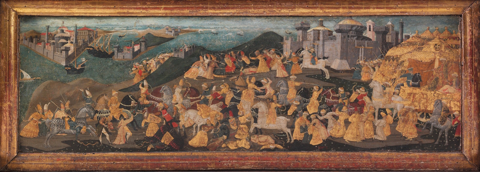 Front Panel depicting the Conquest of Trebizond, Marco del Buono Giamberti and Apollonio di Giovanni di Tomaso, Cassone with the Conquest of Trebizond, 1460s, tempera, gold and silver on wood, 9 1/2 x 77 x 32 7/8 inches / 100.3 x 195.6 x 83.5 cm (The Metropolitan Museum of Art)