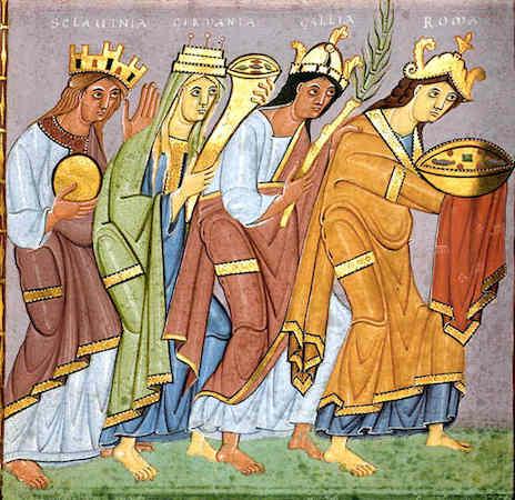 Provinces Bringing Tribute (f.23v.), Gospels of Otto III (Munich, Bayerische Stattsbibliothek, Clm.4453)