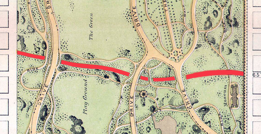 65th Street transverse in red (detail), Frederick Law Olmstead, Central Park Plan, 1869