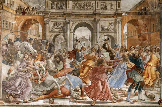 Domenico Ghirlandaio, Massacre of the Innocents, c. 1485-90, fresco Cappella Maggiore, Santa Maria Novella, Florence)