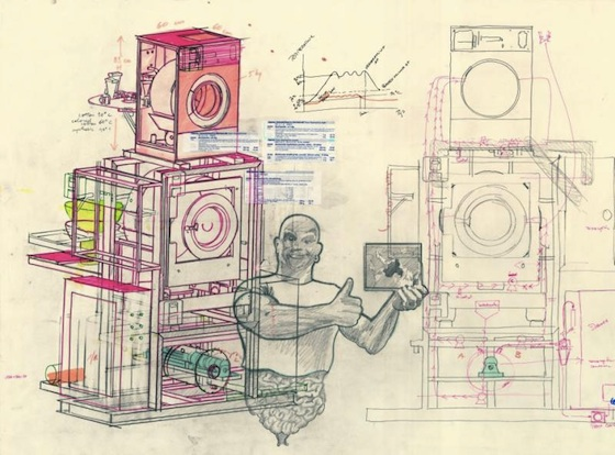 Wim Delvoye, Study # 147, 2004, pencil, colour pencil, marker & sticker on paper, 77 x 112 cm