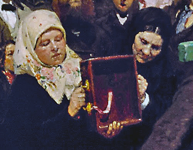 Pious women carrying empty box (detail), Ilya Repin, Krestny Khod (Religious Procession) in Kursk Gubernia, 1880-83, oil on canvas, 175 x 280 cm (State Tretyakov Gallery, Moscow)