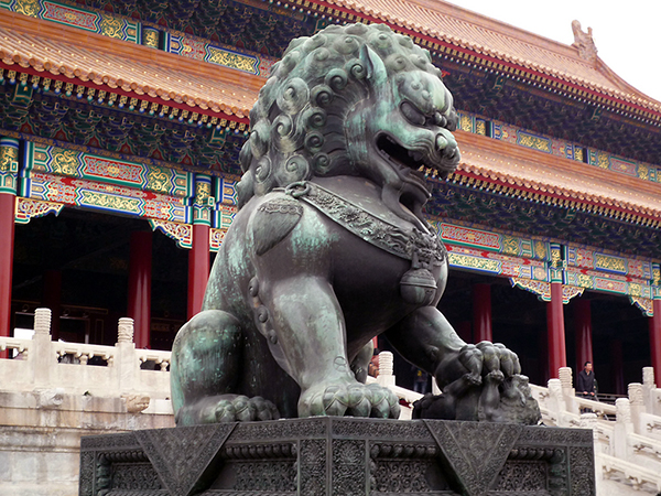 One of two bronze Ming Dynasty lions at the Gate of Supreme Harmony in the Forbidden City, Beijing