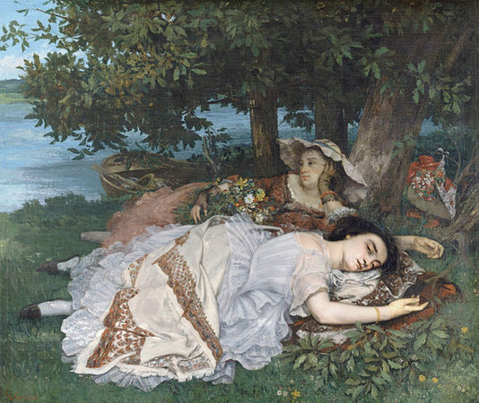 Gustave Courbet, Les Demoiselles du bord de la Seine (Young Ladies on the Banks of the Seine), 1856, oil on canvas, 174 x 206 cm (Musée du Petit, Palais)