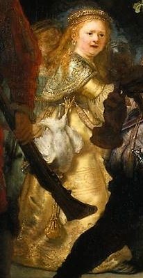 Personification of the Kloveniers (detail), Rembrandt, Officers and Men of the Company of Captain Frans Banning Cocq and Lieutenant Wilhelm van Ruytenburgh, known as the Night Watch, 1642, oil on canvas, 379.5 x 453.5 cm (Rijksmuseum, Amsterdam)