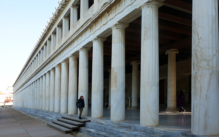 20th century reconstruction of the Stoa of Attalos in the Athenian Agora (original c. 159-138 B.C.E.) (photo: Steven Zucker, CC BY-NC-SA 2.0)