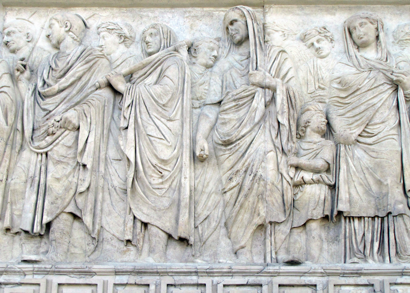 Processional scene (south side) with Agrippa (hooded), Ara Pacis Augustae (Altar of Augustan Peace) 9 B.C.E. (Ara Pacis Museum, Rome) (photo: Steven Zucker, CC BY-NC-SA 2.0)