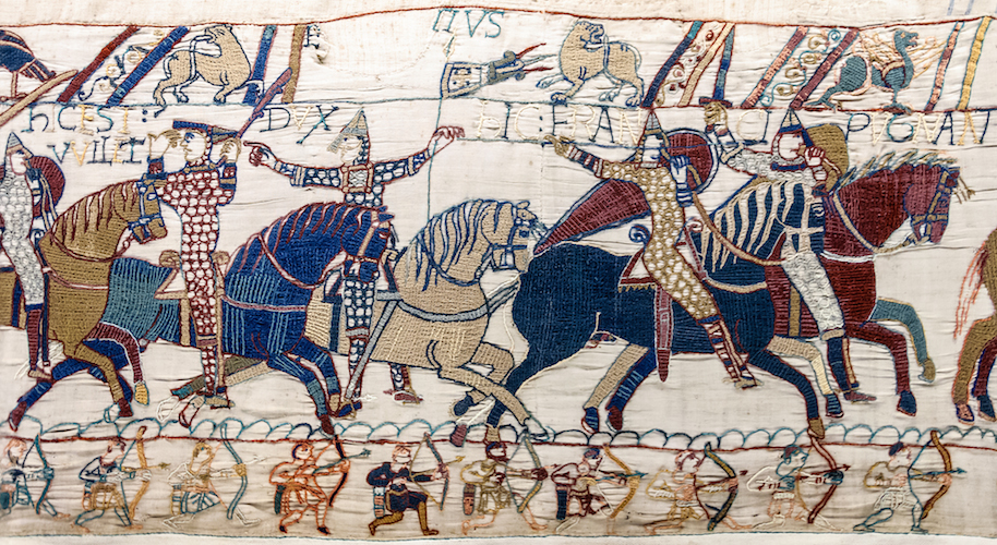 Cavalry and foot soldiers in battle (detail), Bayeux Tapestry, c. 1070, embroidered wool on linen, 20 inches high (Bayeux Museum)