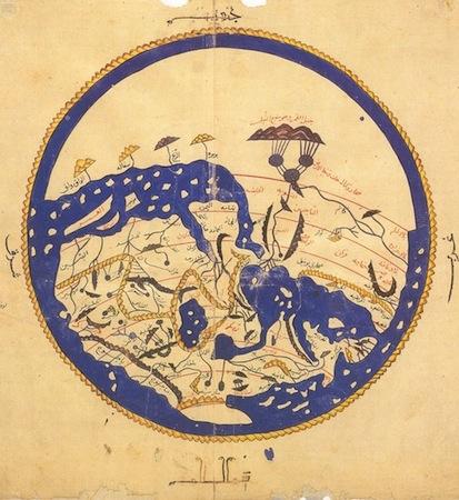 Al-Idrisi, Mappa Mundi, Oxford Pococke Manuscript, Bodleian Library, Oxford (MS. Pococke 375, fols. 3c-4r)