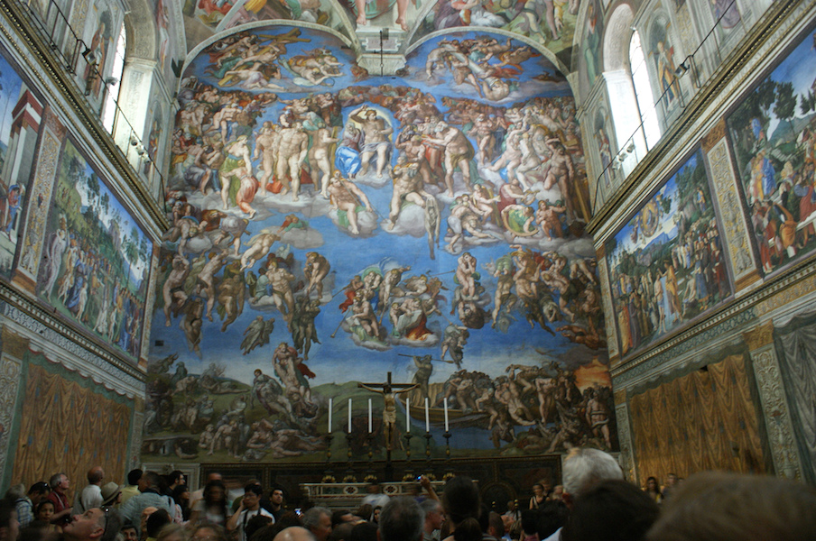 Michelangelo, Last Judgment, Sistine Chapel, altar wall, fresco, 1534-1541 (Vatican City, Rome) (photo: Ramon Stoppelenburg CC BY-NC-SA 2.0)