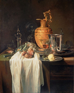 Willem Kalf, Still Life with Ewer, Vessels, and Pomegranate, mid 1640s, oil on canvas, 81.3 x 103.5 cm (The J. Paul Getty Museum, Los Angeles, CA)