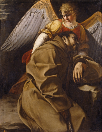 Orazio Gentileschi, Saint Francis in Ecstasy, c. 1607, oil on canvas, 126 x 98 cm (Prado, Madrid)