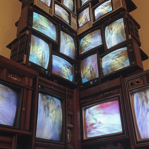 Nam June Paik, V-yramid (detail), 1982, video installation, color, sound, with forty television sets (Whitney Museum of American Art, New York) (photo: Mark B. Schlemmer, CC BY 2.0) (© Nam June Paik Estate)