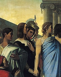 Portraits of Raphael and Ingres (detail), Ingres, The Apotheosis of Homer, 1827, oil on canvas, 3.86 x 5.12 meters (Louvre, Paris)