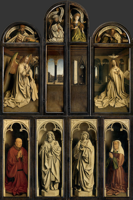 "Jan (and Hubert?) Van Eyck, Ghent Altarpiece or The Adoration of the Mystic Lamb, 1432, tempera and oil on panel, 11' 5"" x 7' 3"" (closed) (Cathedral of Saint Bavo, Ghent, Belgium)"