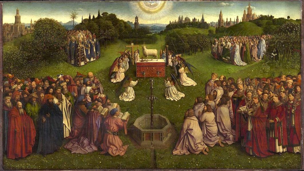 Adoration of the Mystic Lamb, bottom center panel, Jan van Eyck, Ghent Altarpiece (open), completed 1432, oil on wood, 11 feet 5 inches x 15 feet 1 inch (open), Saint Bavo Cathedral, Ghent, Belgium (photo: Closer to Van Eyck)
