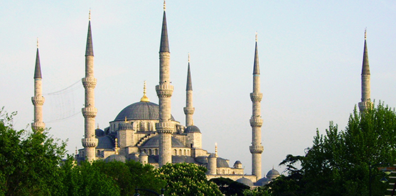 View of the minarets of the Blue Mosque, Istanbul (photo: Graham Bould)