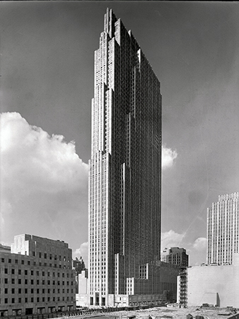 "View of the RCA building Rockefeller Center from the old Union Club, September 1, 1933, 5x7"" safety negative by Gottscho-Schleisner"