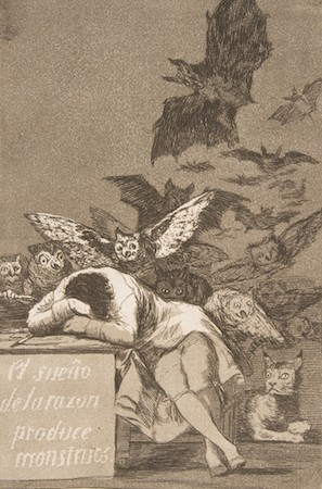 "Francisco Goya, Plate 43, ""Los Caprichos"": The sleep of reason produces monsters, 1799, etching, aquatint, drypoint, and burin, plate: 21.2 x 15.1 cm (The Metropolitan Museum of Art)"