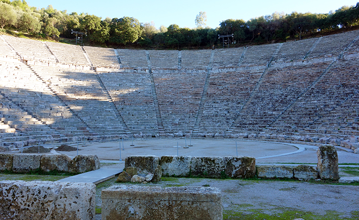 Theatre at the Sanctuary of Asclepius at Epidaurus, c. 350 - 300 B.C.E. (photo: Steven Zucker, CC BY-NC-SA 2.0)