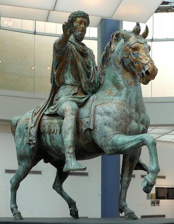 Equestrian Statue of Marcus Aurelius, gilded bronze, c. 173-76 C.E. (Capitoline Museums, Rome)