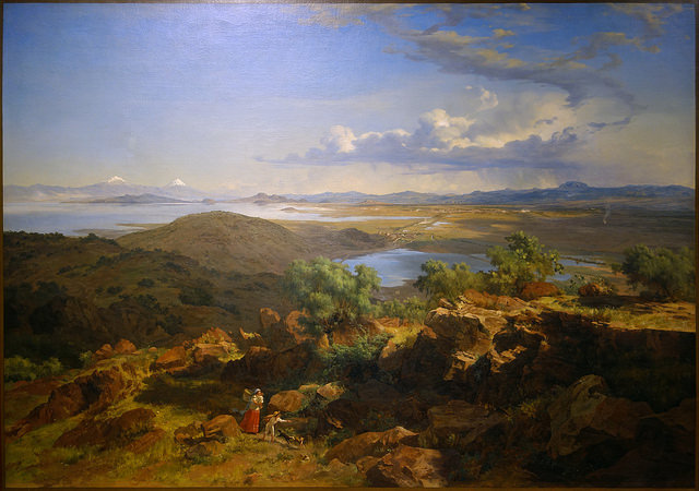 José María Velasco, The Valley of Mexico from the Santa Isabel Mountain Range (Valle de México desde el cerro de Santa Isabel),1875, oil on canvas, 137.5 x 226 cm (Museo Nacional de Arte, INBA, Mexico City)
