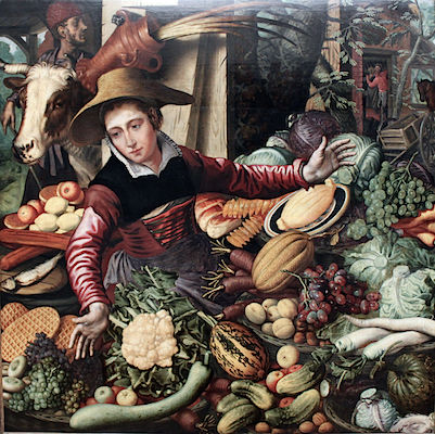 Pieter Aertsen, Market Woman with Vegetable Stall, 1567, oil on wood (Gemäldegalerie, Berlin)