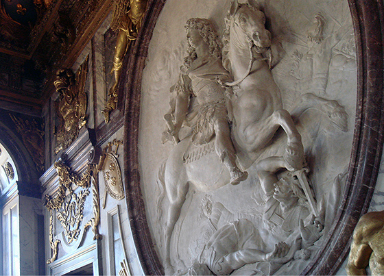 Antoine Coysevox, Equestrian Relief of King Louis XIV as a Roman Emperor, Salon de la guerre, 1715 (photo: Anna Carol, CC BY 2.0 - corrected)