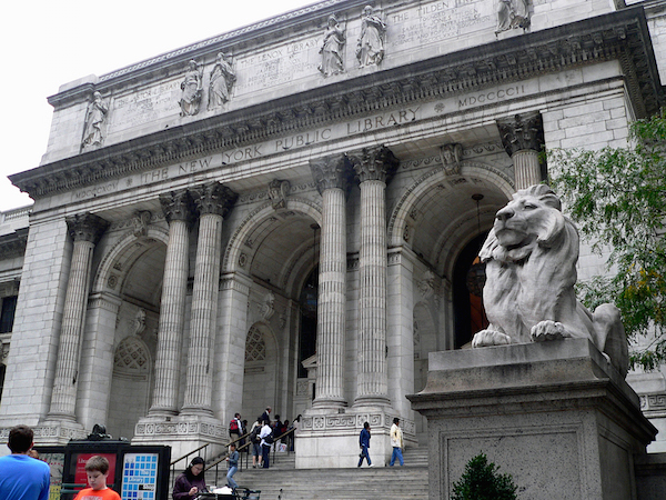 "Portico with ""Fortitude"" lion sculpture in foreground, Carrère & Hastings, The New York Public Library, 1902 and after, New York, NY (photo: Ken Thomas)"