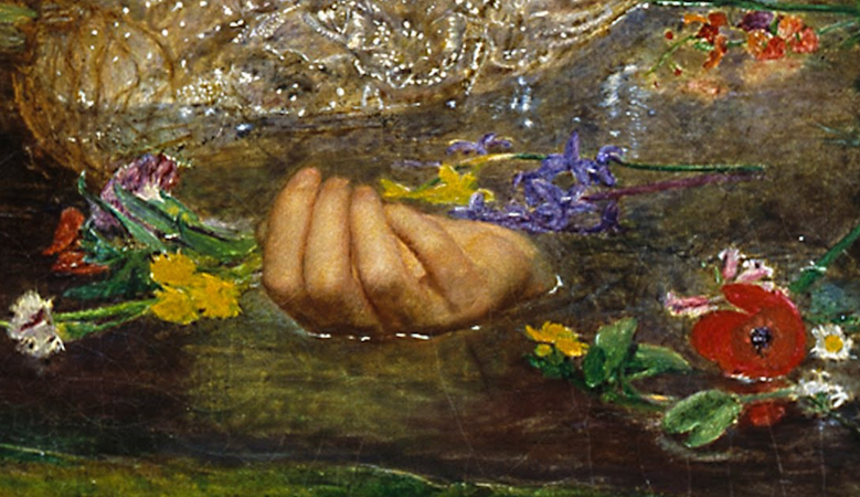 Ophelia (detail), Sir John Everett Millais, Ophelia, 1851-52, oil on canvas, 762 x 111.8 cm (Tate Britain, London)