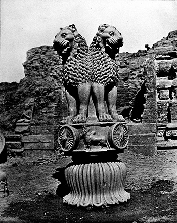 Lion Capital, Ashokan Pillar at Sarnath, c. 250 B.C.E., polished sandstone, 210 x 283 cm, Sarnath Museum, India (photo: AS Mysore for Vincent Arthur Smith, not in copyright - pre Independence princely state publication)