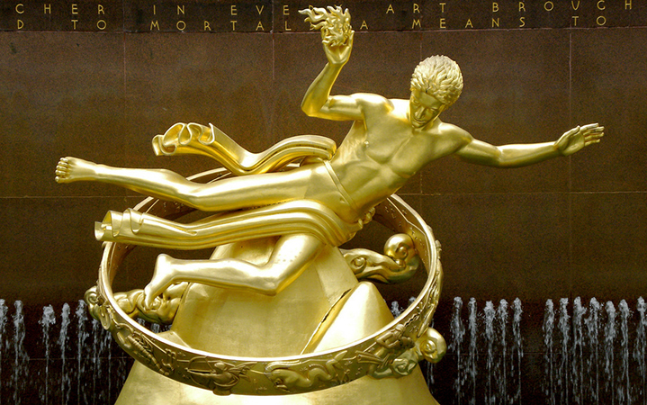 Paul Manship, Prometheus, 1934, gilded bronze, 18 feet high (photo: Rev Stan, CC BY 2.0)