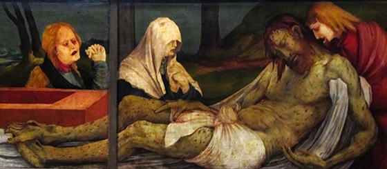 Detail of the Lamentation (predella), Matthias Grünewald, Isenheim Altarpiece,1510-15