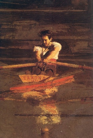 Self-portrait (detail), Thomas Eakins, The Champion Single Sculls (Max Schmitt In A Single Scull), 