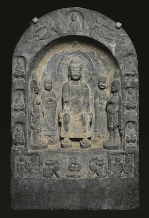 Stele of the Buddha Maitreya, 687. China; Tang dynasty (618–906). Limestone. The Avery Brundage Collection, B60S36+ (Asian Art Museum)