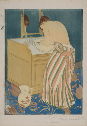 Mary Cassatt, Woman Bathing, 1890-91, color aquatint, with drypoint from three plates, on off-white laid paper, sheet: 43.2 x 30.5 cm  (Art Institute of Chicago)