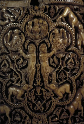 Pyxis of al-Mughira, possibly from Madinat al-Zahra, AH 357/ 968 CE, Carved ivory with traces of jade (Musée du Louvre, Paris)