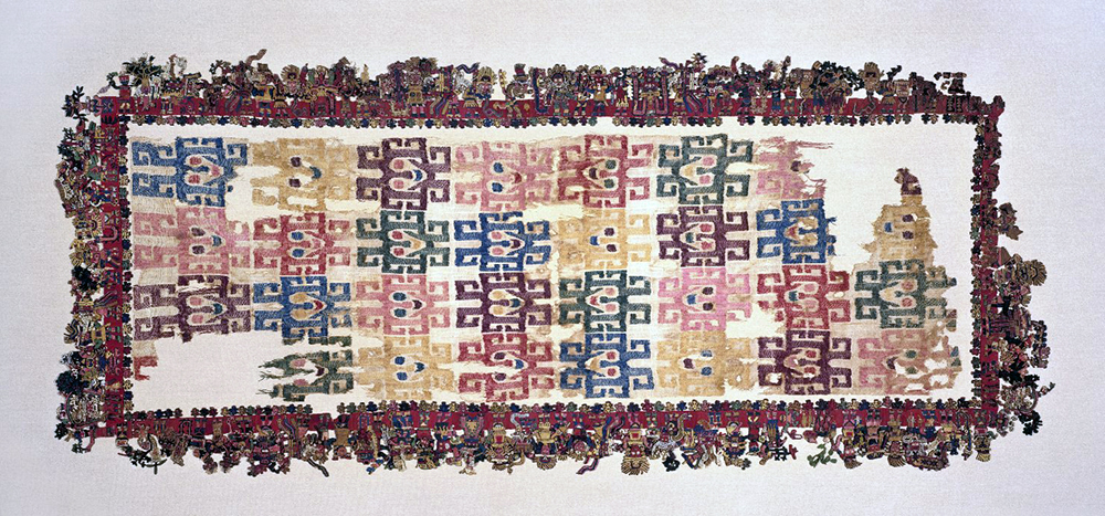 "Nasca, Mantle (""The Paracas Textile""), 100-300 C.E., cotton, camelid fiber, 58-1/4 x 24-1/2 inches / 148 x 62.2 cm, found south coast, Paracas, Peru (Brooklyn Museum)"