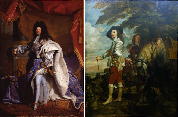 "Left: Hyacinthe Rigaud, Louis XIV, 1701. Oil on canvas, 9'2"" x 6'3"". Musée du Louvre, Paris. Right: Anthony van Dyck, Charles I at the Hunt, c. 1635, oil on canvas, 2.66 x 2.07 m (Musée du Louvre)"