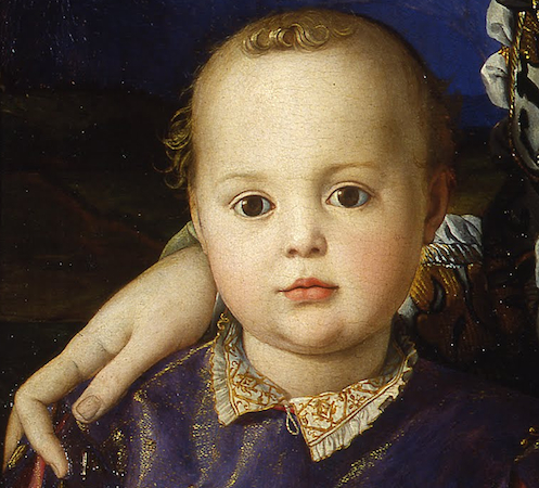 Detail, Agnolo Bronzino, Portrait of Eleonora of Toledo with her son Giovanni, 1544-45, oil on panel, 115.00 x 96.00 cm (Galleria degli Uffizi)